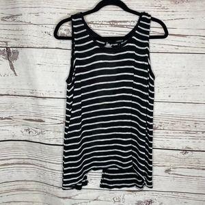 Torrid Striped Sleeveless Sweater Black White 0